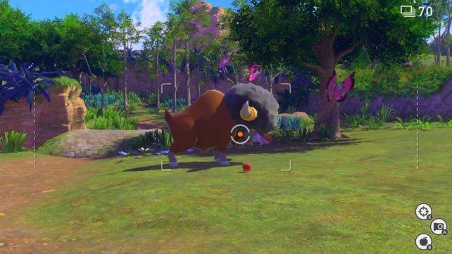 Werft Pokémon mit Lumina-Kugeln ab oder gebt ihnen einen Samtapfel zu essen, um ihr Verhalten zu ändern.