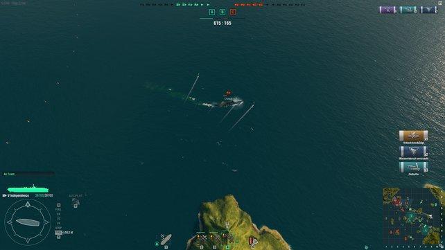 """Dieses Schlachtschiff hier wurde von einem Torpedoangriff völlig überrascht und hat drei von fünf """"Aalen"""" gefressen. Ein Desaster!"""