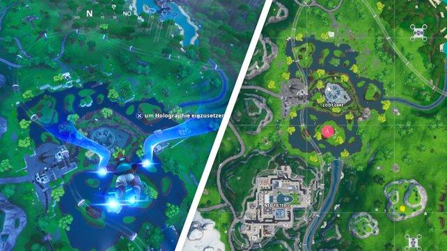 Links seht ihr, wo ungefähr ihr durch die Ringe fliegen müsst und Fortbyte #4 auftaucht.