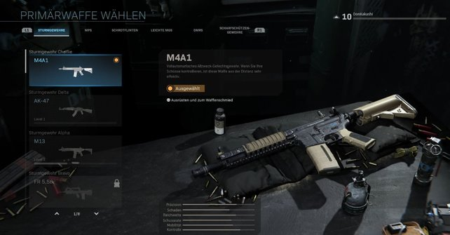 Die ehemals beste Waffe in CoD:MW. Die M4A1. Auch heute ist sie eine gute Wahl!