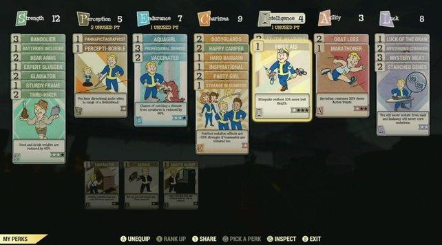 So könnte ein Charakter-Build mithilfe der Sammelkarten in Fallout 76 aussehen.