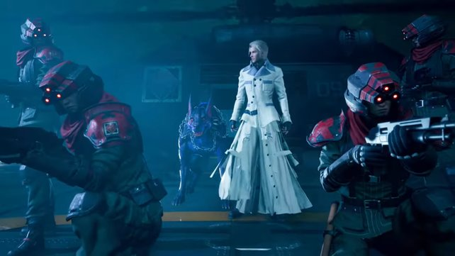 In einem ziemlich coolen Auftritt erscheint der Sohn von Direktor Shinra, Rufus, und stellt sich unseren Helden entgegen.