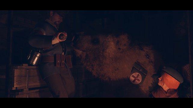 Story und Taktik gehen in Iron Harvest Hand in Hand: Heldin Anna hat einen Bären, der auch gleichzeitig zum Kampf eingesetzt werden kann.