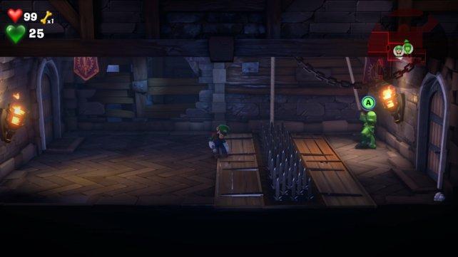 Ein Rätsel-Beispiel: Fluigi muss die Stacheln passieren und auf der anderen Seite am Hebel ziehen, damit Luigi nachkommen kann.