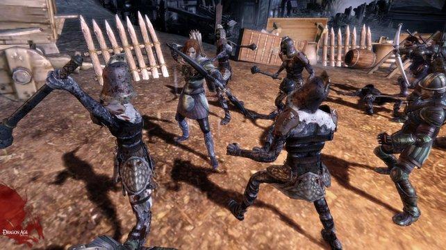 Jeder Charakter hat bestimmte Kampf-Vorlieben, Leliana kämpft mit Pfeil und Bogen.