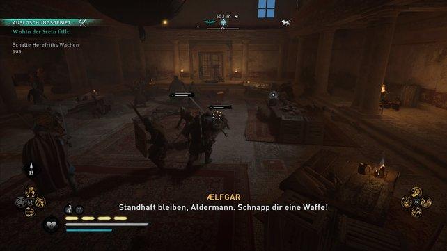 Wählt ihr Aelfgar oder Hunwald, dann zeigt Herefrith sein wahres Gesicht und schickt seine Soldaten, um alle zu töten.