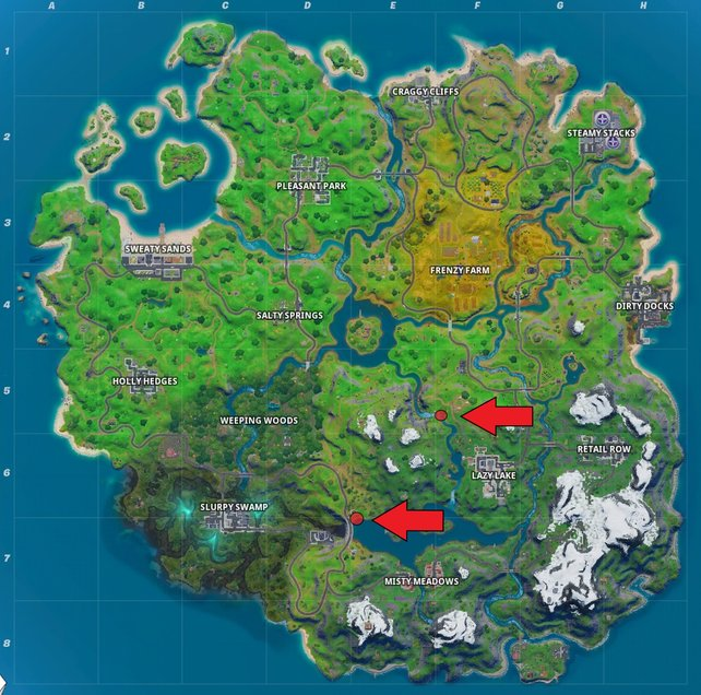 """Die rot-markierten Stellen geben an, wo ihr in Fortnite """"Schwimmen verboten""""-Schilder finden könnt."""