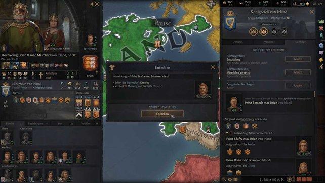 Auch das Enterben in Crusader Kings 3 muss über das Reichs-Menü stattfinden.
