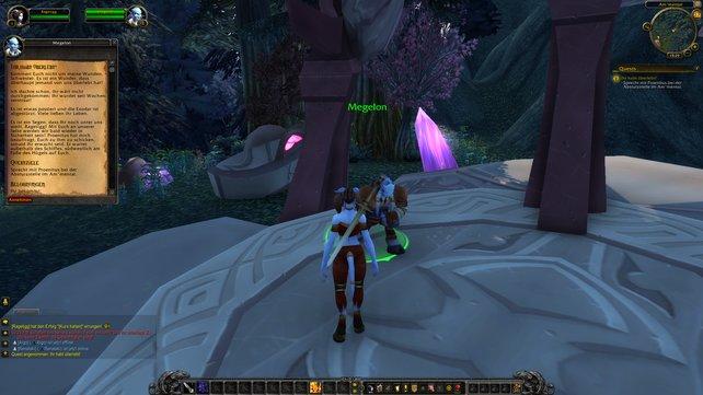 Unsere Draenei-Kriegerin startet ihr Abenteuer auf den Azurmythosinseln.