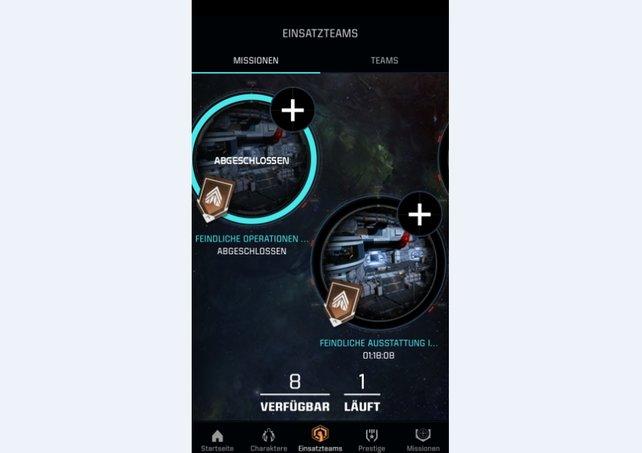 Über die Companion App schickt ihr Einsatzteams auf Missionen in der gesamten Galaxie.