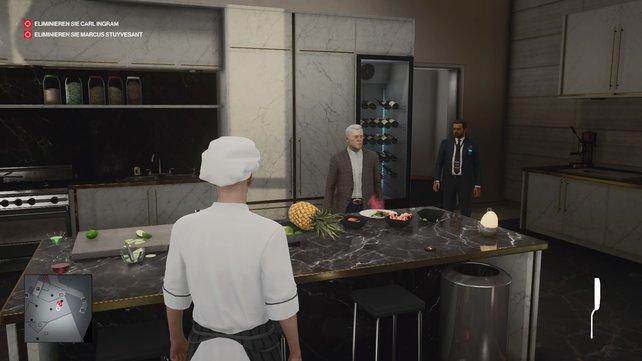 """In der Küche könnt ihr die Essensglocke läuten und passend zum Attentat """"Gift nach Wahl"""" Carl Ingram vergiften."""