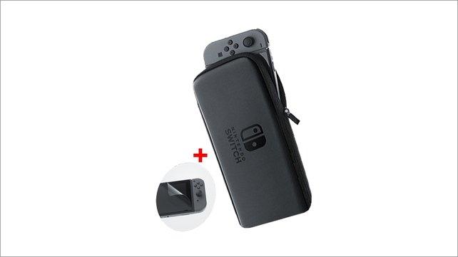 Die Tasche und Schutzfolie von Nintendo.
