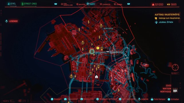 Die Fragezeichen auf eurer Karte, stellen die Fundorte der Aufträge in Night City dar.