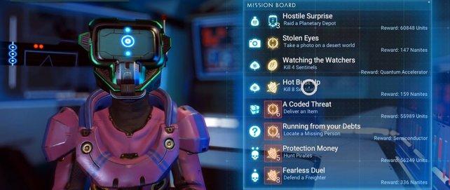 In Raumstationen könnt ihr Missionen annehmen, die euch Nanit einbringen.