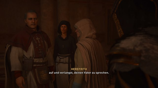 Bischof Herefrith und Äbtissin Acha sagen dem jungen Hunwald, sein Vater sei spurlos verschwunden.