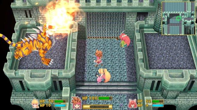 Ein Boss-Kampf aus dem Remake. Umgebung und Figuren sind jetzt zwar dreidimensional gestaltet, jedoch bleibt das 2D-Geschehen aus der Dreiviertelansicht erhalten.