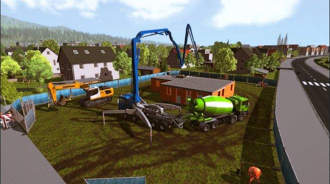 Für den Bau stehen verschiedenste Baufahrzeuge zur Verfügung. Ein Männertraum!