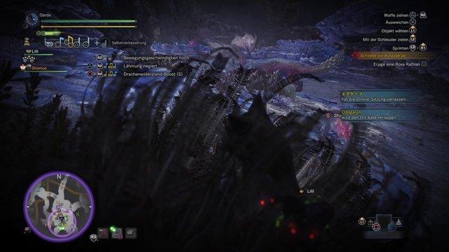 Ihr könnt euch vor den Monstern verstecken und somit den Kampf der Giganten gegeneinander beenden - die pinke Rathian gehört dann wieder euch.