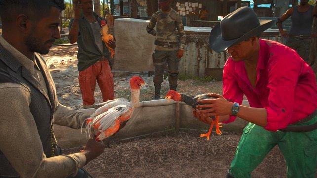 Abseits der Story könnt ihr allerlei Aktivitäten nachgehen. Zum Beispiel einen Hahn in einem Hahnenkampf in Tekken-Manier steuern.
