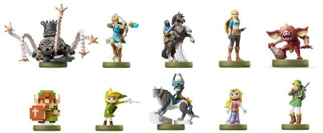 Das Bild zeigt euch eine Auswahl der Amiibo, die in Zelda - Breath of the Wild unterstützt werden.