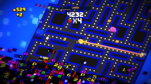 Unten schiebt sich eine Welle aus (absichtlichen) Grafikfehlern hoch, oben pulverisiert Pac-Man per Laser-Extra Geister.