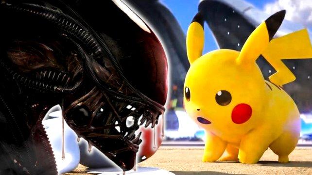 Alien trifft auf Pokémon: So cool würden die Taschenmonster im Grusel-Look aussehen. Bildquellen: Nintendo, 21st Century Fox.