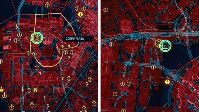 Fundorte auf der Karte: Links die Mantisklingen in Corpo Plaza und recht das Monodraht in Kabuki.