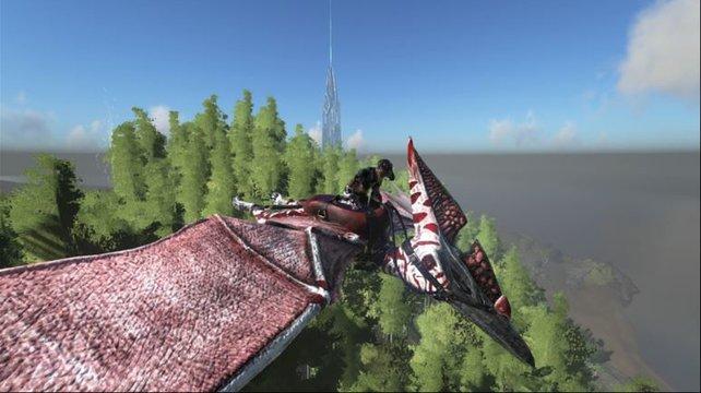 Auf dem Rücken des Pteranodon könnt ihr die ganze ARK: Survival Evolved-Insel erkunden. (Bildquelle: ark-survival-evolved.wikia.com/Dracosaurian)