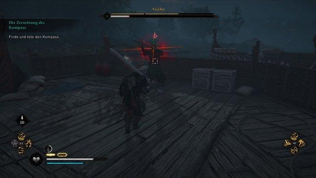 Im Kampf gegen den Kompass müsst ihr eure Schnelligkeit ausspielen und könnt die roten KRüge für zusätzlichen Schaden nutzen.