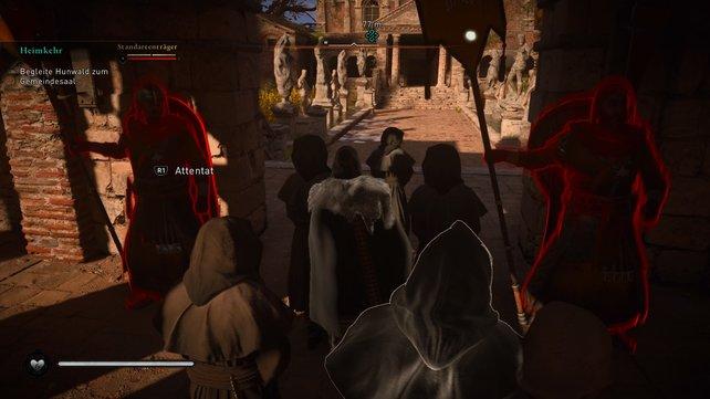 Um unbemerkt zum Gemeindesaal zu gelangen, müsst ihr zwischen den Mönchen untertauchen und an den Wachen vorbeischleichen.