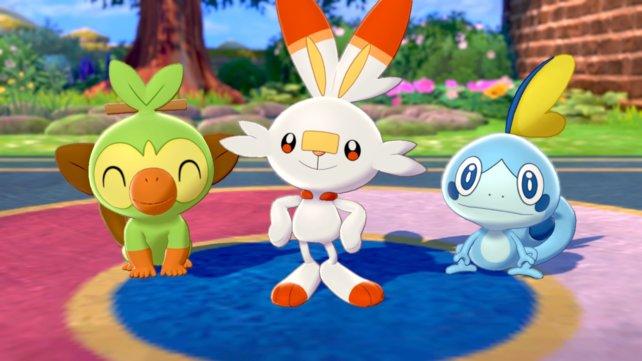 Die drei Starter-Pokémon Chimpep, Hopplo und Memmeon.