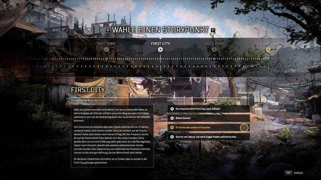 Den Zeitstrahl könnt ihr in der Lobby anwählen, wo ihr euren Charakter wählt und das Spiel startet.