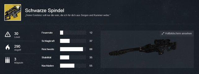 Schwarze Spindel: Die Attribute des exotischen Scharfschützengewehres.