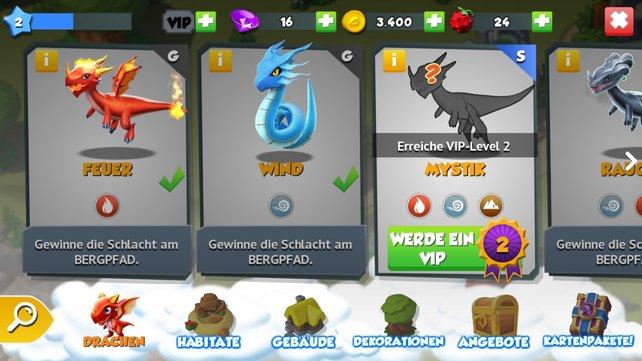 In der Bruthöhle könnt ihr nahezu alle Drachentypen bereits einsehen.