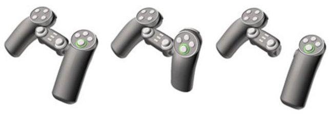 Nintendo beginnt mit der Wii-Entwicklung schon 2001. Hier seht ihr den ersten Vorschlag zur Bewegungssteuerung, den ihnen ein Vertragspartner macht. Der rechte Controller sollte wahlweise abnehmbar sein und dann wie eine Wii-Fernbedienung funktionieren.