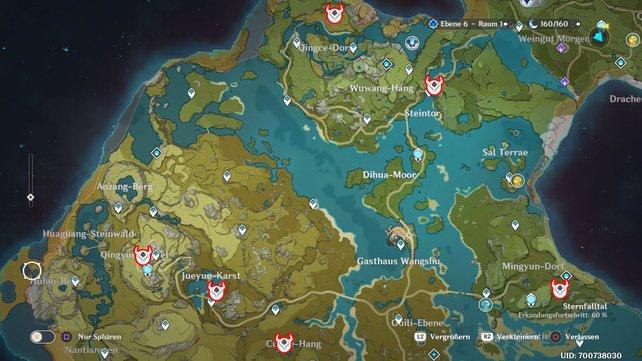 Die Karte zeigt euch 6 mögliche Fundorte in Liyue.