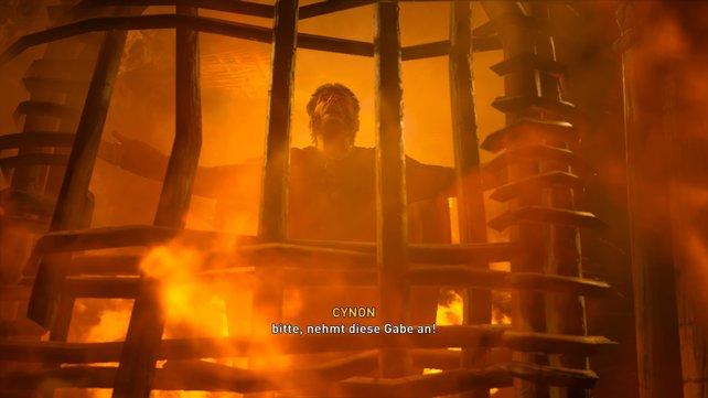 Lasst ihr Cynon am Leben, dann steigt er am Ende in den Weidenmann und ihr dürft ihn in Brand stecken, aufdass er geopfert wird.