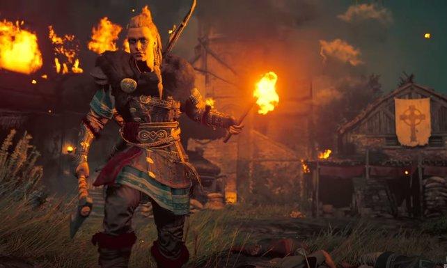 In Assassin's Creed Valhalla könnt ihr mit einem männlichen oder weiblichen Protagonisten plündern und brandschatzen.