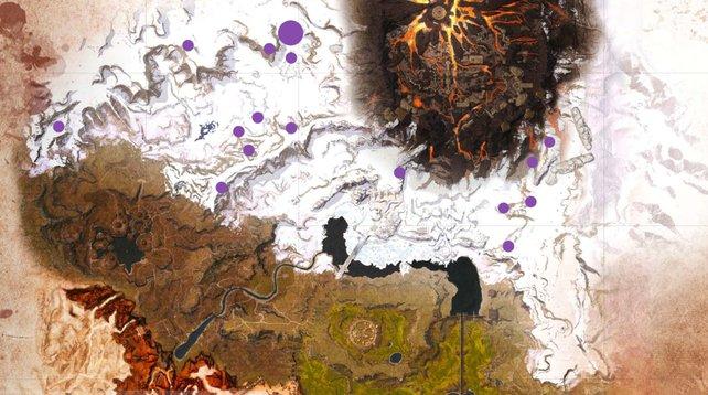 Schwarzes Eis hebt sich in der weiß-grauen Umgebung gut ab. Außerdem erhaltet ihr eine Menge aus einem Fundort - damit sich die lange Reise in Conan Exiles auch lohnt.