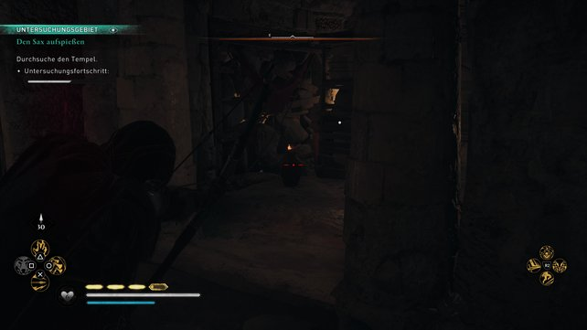 Schlüpft unter das Gerüst hindurch, nehmt den roten Krug auf, lauft außen herum zurück und stellt ihn vor der löchrigen Wand ab.