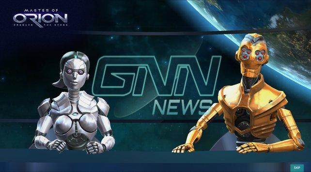 Robo-Moderation: Eine fiktive Nachrichtensendung führt durchs Spiel und präsentiert das aktuelle Geschehen