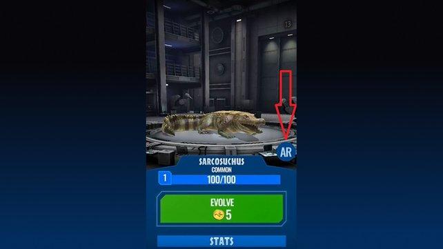Hier seht ihr die Schaltfläche, mit der ihr bei Jurassic World Alive den AR-Modus aktivieren könnt.