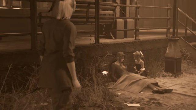 Elmyra erzählt von ihrer Vergangenheit, wobei sie erzählt, dass sie nicht Aerith' leibliche Mutter ist, sondern das verwaiste Mädchen an ihrer statt aufzog.