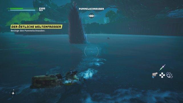 Taucht der Pummelschnauber unter, müsst ihr auf seinen flossengleichen Schwanz achten und seinen Schwimmangriffen ausweichen.