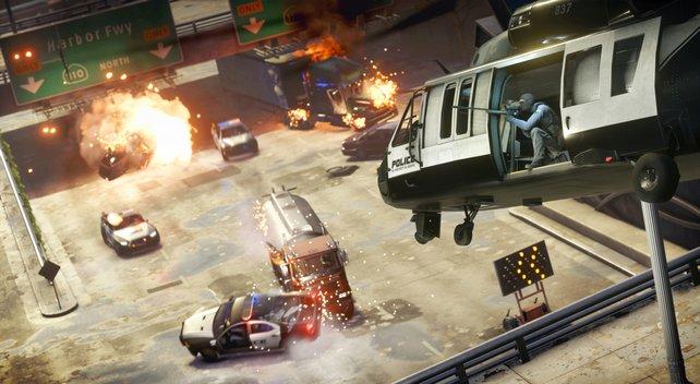 Wie eine Szene aus dem Hollywood-Film Heat: Die Straßen von Downtown werden zum Schauplatz wilder Schlachten.