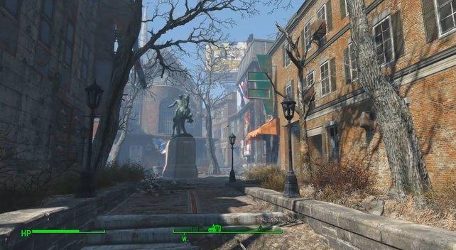 Im Hintergrund seht ihr die Old North Church, das Hauptquartier der Railroad.