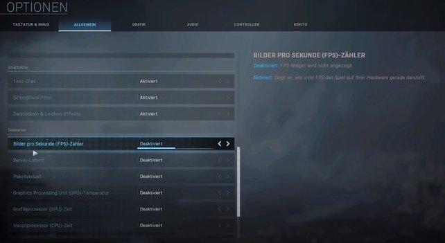 Über das Spielmenü von CoD Warzone könnt ihr euch die FPS anzeigen lassen.