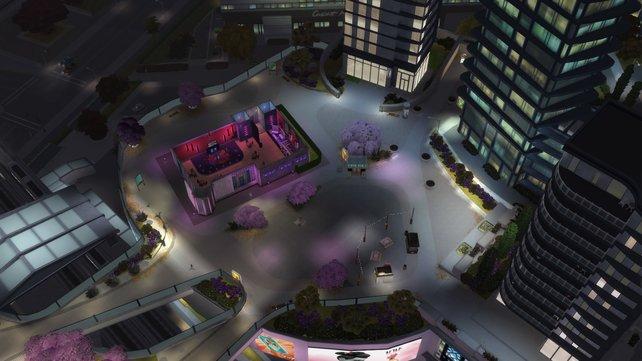 Das Stadtleben sieht mit den imposanten Hochhäusern ganz anders aus als das übliche Simsweltendesign.