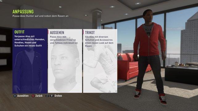 Customization in The Journey 2: Ihr könnt zwar keinen eigenen Darsteller kreieren, dafür verpasst ihr Alex Hunter ein einzigartiges Erscheinungsbild.