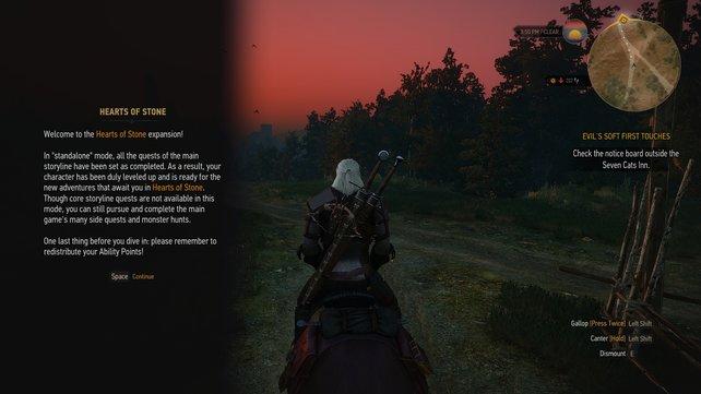 Am Anfang steht ihr vor der Wahl, ob ihr die Erweiterung mit einem alten oder einem vorgefertigten Geralt spielt. Dabei gilt zu bedenken: Die Missionen sind für Charaktere ab Level 30 ausgelegt.
